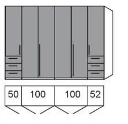 Loddenkemper Schlafzimmer Maximum Drehtüren-Kleiderschränke mit Schubkasten