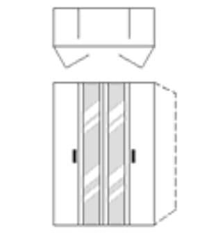 Nolte Germersheim Schranksysteme Columbus Falttüren-Panorama-Planungsschränke (davorstehend von links nach rechts zusammenstellen: Startelement-Anbauelemente-Abschlussseite)