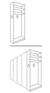 Nolte Germersheim Schranksysteme Columbus Anstell-Garderobe (davorstehend von links nach rechts zusammenstellen: Startelement-Anbauelemente-Abschlussseite)