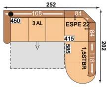 Polipol Sofas 64390086 3AL-ESPE22-1,5STBR