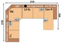 Polipol Sofas 64391079 2L-RE-2,5EL-CANR