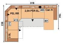 Polipol Sofas 64391079 2SL-PELRR-2,5APEREL-CANR