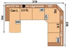 Polipol Sofas 64391079 CANL-2,5EL-RE-2R