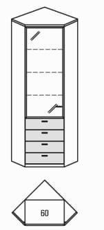 Rietberger Möbelwerke Wohnmöbel Manhattan Solitär-Eckvitrine