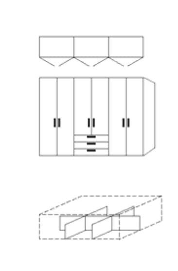 Nolte Germersheim Zubehör Zubehör Drehtürenschränke für Schrankelemente mit 160 cm Breite und 60 cm Tiefe - Schubkastenunterteilung