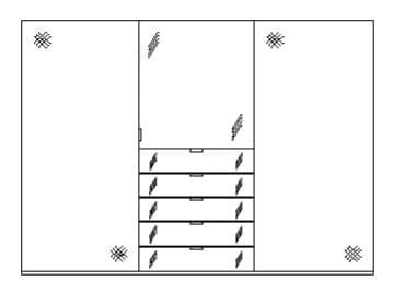 Staud Kleiderschrank Media zweifarbig mit Grauspiegel 09672