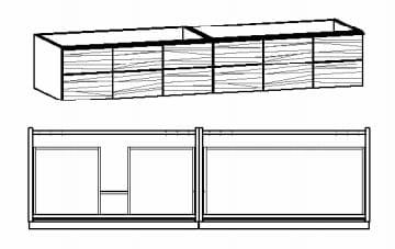 Voglauer Bad V-Montana Waschtischunterschränke, asymmetrisch