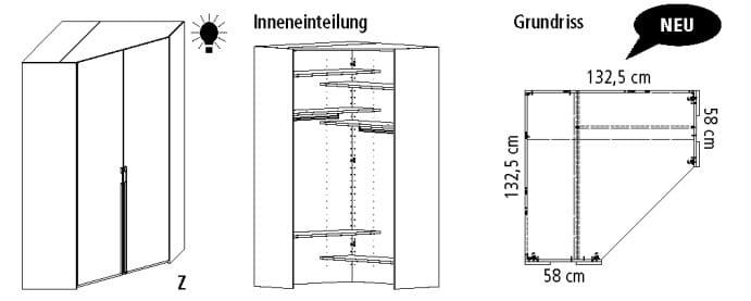 Wellemöbel Schlafzimmer Systema 25 Eckkleiderschränke